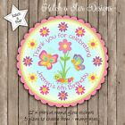 BUTTERFLY BIRTHDAY PERSONALISED SCALLOP CIRCLE GLOSS PARTY STICKERS X 12