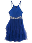 Girls Dress Formal Party Holiday Wedding Special  Blue Jewels Mesh Sizes 10 14