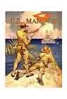 """US Marines Signaling - 20x32"""" Military Recruiting Poster on Canvas"""