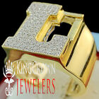 Mens Big Bold 10K Yellow Gold On Real Silver Initial Letter L Simu Diamond Ring
