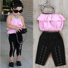 2Pcs Kids Girls Toddler Halter Tops Shirt Elastic Pants Outfits Set Clothes 1-6T