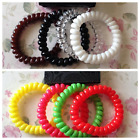 4 SPIRAL COIL JELLY HAIR SCRUNCHIE TELEPHONE CORD PONYTAIL BAND PLASTIC ELASTIC