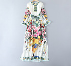 Autumn Occident fashion Modern Vintage printed temperament loose mop dress SMLXL