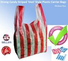 New 2017 Candy Stripe Plastic Vest Carrier Bags, High Quality (Aprox 100 Bags)