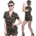 Adult Camo Army Girl Soldier Costume Commando Suit Uniform Fancy Dress Outfit