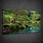 CALM LAKE GREEN BONZAI TREES RELAXING BOX CANVAS PRINT WALL ART PICTURE