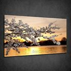 BEAUTIFUL GOLD SUNSET CHERRY BLOSSOM BOX CANVAS PRINT WALL ART PICTURE