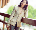 New Autumn/winter Occident fashion tweed wool coat female manual bead coat SMLXL