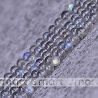 """5A Natural Grey Moon Stone Gemstone Round Loose Beads 15.5"""" Strand 3 4 5mm"""