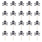 20 Pieces Baking Accessorry Skull Head Cupcake Toppers for Halloween Fancy Dress