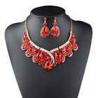 2 pieces New Elegant Charming Women Gold Plated Chain Nevklace Earrings Set