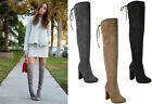 Ladies Womens Block High Heel Over The Knee Thigh Stretch Lace Up Boots Size