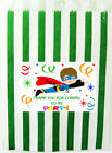 SUPERHERO Thank You Stickers for party bags/Sweet Cones etc Ref  - ROB 06