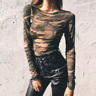 Camouflage T-shirt Women Sexy See Through Mesh Top O-Neck Long Sleeve Crop Tops