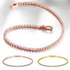 Fashion women's Bracelet Gold Plated Zircon Cubic Rectangle Link Chain Jewelry