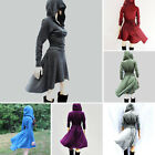 Fashion High Low Swing Skater Women Casual V Neck Hooded Cosplay Costumes Dress