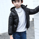 Girls Boys Down Cotton Coats Hooded Slim Winter Warm Blue Kids Child Outwear L6