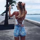 women sexy casual bandage open back tie camis lace up  fitness tank tops vest