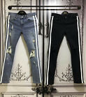 Mens Two Stripe Line Print Damage Ripped Distressed Jeans Blue Blue Streetwear