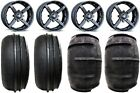 "MSA Black Battle 14"" UTV Wheels 28"" Sand Stripper Tires Polaris RZR 1000 XP"