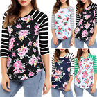 UK Plus Size Womens Floral Stripe 3/4 Sleeve Ladies Casual Tops T-Shirt Blouse