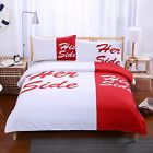 Her Side His Side Duvet/Quilt Cover Bedding Set Pillowcase White & Red 3-Piece