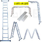 11-19.5 FT Multi-Purpose Telescopic Aluminum Ladder Fold Extendable Step Ladder