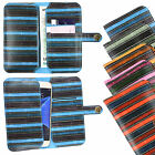 Vintage Stripes PU Leather Wallet Case Cover Sleeve Holder Fits Walton Phones