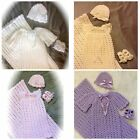Handmade Crochet Knit Baby Christening Gown Coming Home Outfit Layette Gift SetI