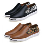 New Fashion Retro Style Leather Shoes Pull On Floral Loafers Mens Casual Shoes