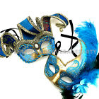 Couple Masquerade Ball Mask Jester Turquoise feather Wedding Dance Prom Party