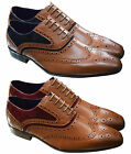 Mens Leather Lined Smart Wedding Lace Up Brogues Formal Dress Shoes Size 6-11