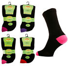 3 Ladies EXTRA WIDE Cotton Rich DIABETIC Loose Wider Top Socks / SE087 / UK 4-8