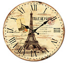 Vintage Wooden Wall Clock Home Decor Art Wood Dining Room Kitchen Rustic Clocks
