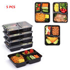 5PCS Food Storage Containers Lunch Box Microwave Dishwasher 3 Compartment