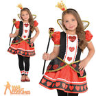 Girls Queen Of Hearts Costume Child Alice Fairy Tale Fancy Dress Book Day Outfit