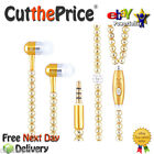 Rhinestone Jewelry Pearl Necklace Earphones With Microphone Earbuds
