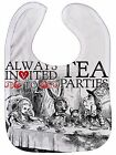 "Alice Wonderland Bib ""Tea Party"" Mad Hatter Alice Rabbit Dormouse Adventures"