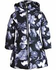 Le Chic Girl's Puffer Coat in Floral Print Black, Sizes 6-14