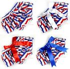 4th July Newborn America Flag Stripes Baby Girls Bloomer Panties with Bow 6m-3Y
