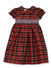 Girls Dress Marmellata Black & Red Tartan Plaid Smocked Bodice Sizes 4 5 6