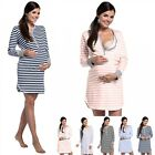 Zeta Ville - Women's maternity nightdress nursing stripe print nightshirt - 589c