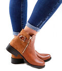 Ladies Flat Ankle Boots Womens New Casual Low Heel Buckle Zip Chelsea Shoes Size