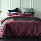 NEW Glazed Ruby Diamond Quilted Velvet Quilt Cover Set