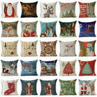 "18"" Xmas Christmas Cotton Linen Throw Pillow Case Sofa Cushion Cover Home Decor image"