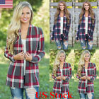 Us New Womens Long Sleeve Plaid Cardigan Ladies Casual Jumpers Coat Tops Outwear