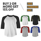 MENS PLAIN RAGLAN TEE CASUAL 3/4 SLEEVE BASEBALL T SHIRT CAMO BDU SPORTS JERSEY image