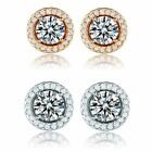 Birthday Party Women Crystal CZ 18K Gold Filled Round Elegant Stud Earrings Gift