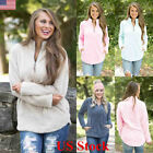 Us Womens Jumper Tops Long Sleeve Zip Up Fleece Loose Ladies Sweater Blouse Top