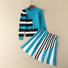 Autumn Occident round neck color matching tops+striped skirt fashion sport suit